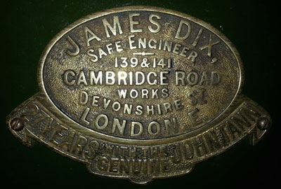James Dix Brass Safe Plate